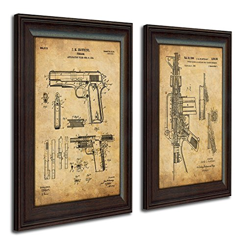 Personal Prints 2 pc Framed Modern Gun Patent Set - 1911 and M16 ()