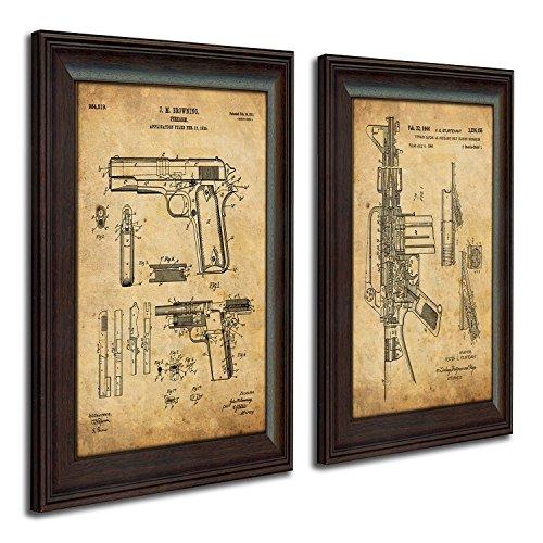 Personal Prints 2 pc Framed Modern Gun Patent Set - 1911 and M16
