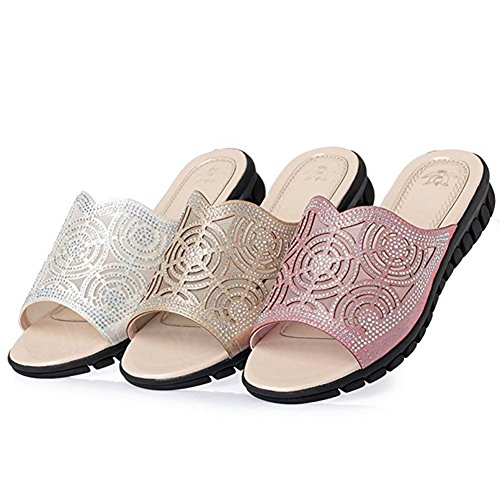 Slip Sandals Slippers T Slides Dressy Toe Wedge Open Platform JULY Fashion Summer Diamond Plus Womens Ladies Beach on Pink Size RavRx1q