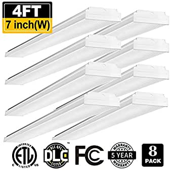 AntLux 4ft LED Garage Shop Lights LED Wraparound Light Fixture - 40W 4400LM - 4500K Neutral White - Integrated Low Profile Linear Flush Mount Ceiling Lighting - 120W Fluorescent Replacement - 8 Pack