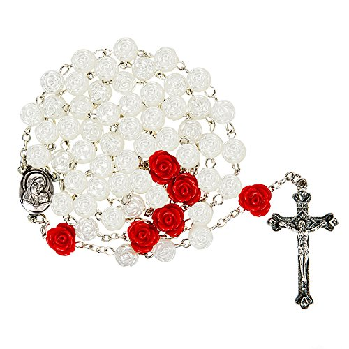 Rose Rosary (Rosary Beads 8mm White Flowers Beads With 6 pcs Rose And Metal Cross)
