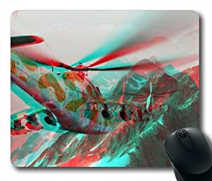 3D Effect Helicopter Oblong Shaped Mouse Pad