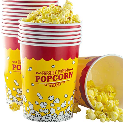 Premium Leak-Free 32 Oz Disposable Popcorn Cup 50 Pack By Avant Grub. Stackable Buckets With Fun Design. Great For Concession Stands, Carnivals, Fundraisers, School Events, Or Family Movie Nights.