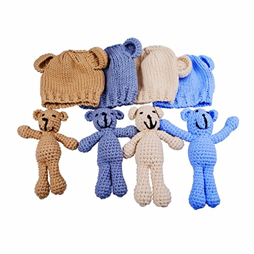 EUDORA Crochet Newborn Photography Boys/Girls Knit Toy Bear Hats, Infant Baby Photo Prop Costume Khaki