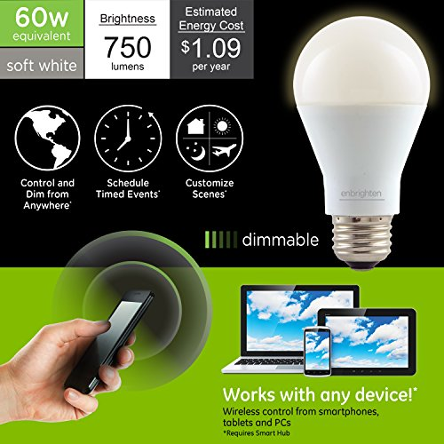 Enbrighten Z-Wave Plus Wireless Smart LED Light Bulb, Dimmable, 60-Watt Equivalent, 2700K Soft White, E26 Base, A19 Style Bulb, 750 Lumens, Hub Required, 35931, Works with Alexa by Enbrighten (Image #1)