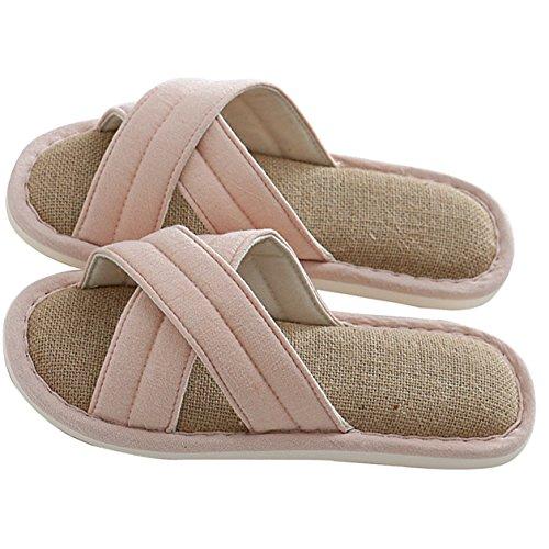el Zapatillas o hombres para impermeables cruzada antideslizantes hogar en y para interiores en uso de lino KelaSip Rosado mujeres a6xdCqq