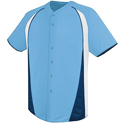 (High Five Ace Full-Button Jersey,Columbia Blue/White/Navy,XXX-Large)