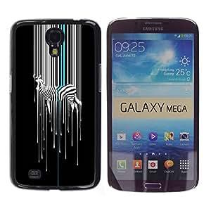 TopCaseStore / la caja del caucho duro de la cubierta de protección de la piel - Art Minimalist White Black Stripes - Samsung Galaxy Mega 6.3 I9200 SGH-i527