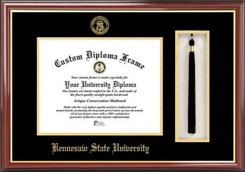 Diploma Frame Mahogany Laminated Visuals Kennesaw State University Owls Tassel Box Embossed Seal
