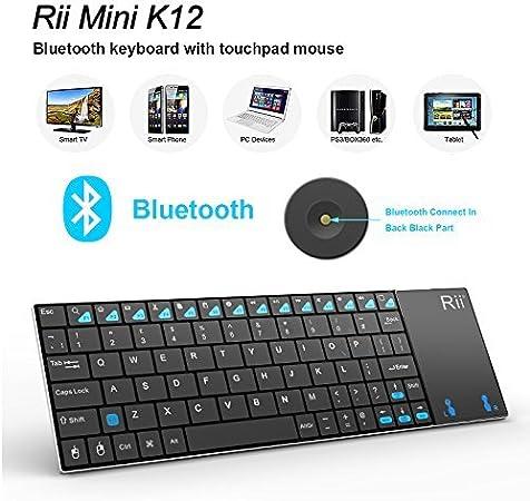 Mini teclado Bluetooth Rii Mini K12 con ratón táctil y cobertura de acero inoxidable