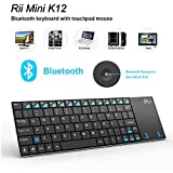 Rii Ultra Slim K12BT Mini Wireless Keyboard with Large Size Touchpad Mouse Stainless Steel Cover and Build in Rechargable Li-ion Battery KODI XBMC Keyboard Multi-Media Portable Handheld Android Keyboard For PC Laptop Raspberry PI 3 MacOS Linux HTPC IPTV Google Smart TV Android Box Windows 2000 XP Vista 7 8 (Black,UK Layout)