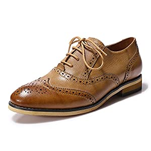 Mona Flying Women's Leather Perforated Lace-up Oxfords Shoes for Women Wingtip Multicolor Brougue Shoes