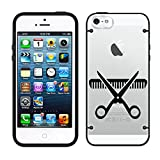 iPhone 5 Silhouette Hair Stylist Scissor and Comb on Clear with Black Trim Case