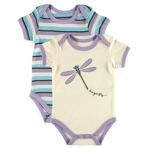 Touched by Nature Unisex Baby Organic Cotton Bodysuits, Dragonfly 2-Pack, 6-9 Months (9M)