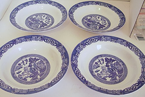 Set of 4 Royal Cuthbertson Blue Willow Rim Soup Bowl 8 3/8 (Cuthbertson Blue Willow)