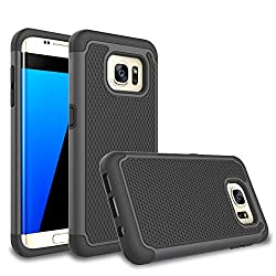 Galaxy S7 Edge Case, Daker [Shockproof] Hybrid Rubber Plastic Impact Defender Rugged [Ultra Slim] Hard Case Cover Shell For Samsung Galaxy S7edge S Vii G935 Gs7edge (Black)
