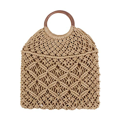 (Ayliss Handmade Straw Bag Travel Beach Fishing Net Handbag Shopping Woven Shoulder Bag for Women/Girls (Khaki#))