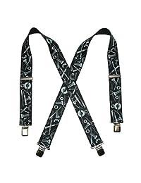 CTM® Men's Elastic Clip-End 2 Inch Nuts & Bolts Medley Suspenders, Black