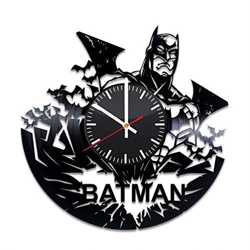 Batman Vinyl Records Wall Clock - Bruce Wayne Gotham City Wall Art Room Decor Handmade Decoration Party Supplies Theme Stuff Birthday Gift Kids Adults Men Women - Vintage Modern Style