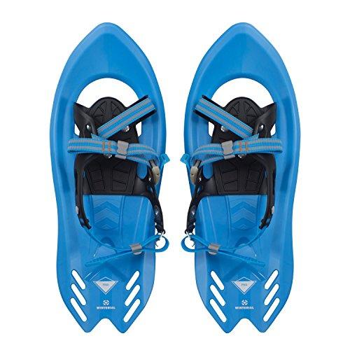 Winterial Pika Kids Snowshoes 18-inch Lightweight Aluminum Flat Terrain Snow Shoes, Blue