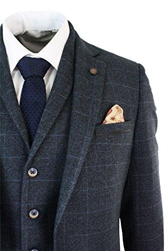 Abito Pezzi Regular Vintage Tweed In Da Completo A Uomo Elegante 3 Marino Blu Scacchi rEwqrAa