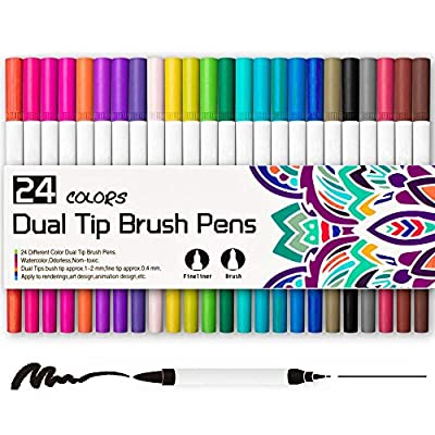 Professional 24 Color Double-Tipped Two Heads Painting Pen Watercolor Pen for Painting, Drawing,Sketching and More, 100% Non-Toxic
