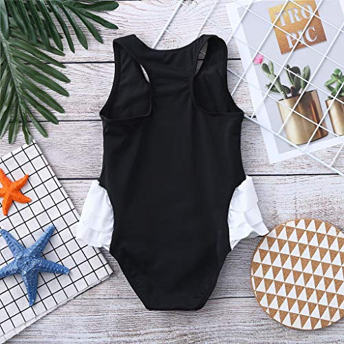Tronet Toddler Baby Kids Girl Ruffles Swan Swimwear Swimsuit Beach Romper Clothes Black