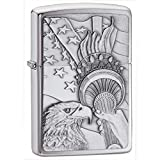 American Eagle and Flag Patriotic Americana Zippo Outdoor Indoor Windproof Lighter Free Custom Personalized Engraved Message Permanent Lifetime Engraving on Backside