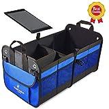 Feezen Car Trunk Organizer Best for SUV, Vehicle, Truck, Auto, Minivan, Home - Heavy Duty Durable Construction Non-Skid Waterproof Bottom