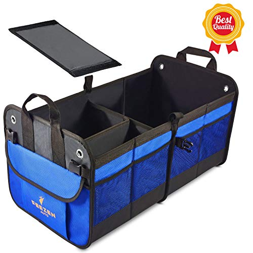 Feezen Car Trunk Organizer Best for SUV, Vehicle, Truck, Auto, Minivan, Home - Heavy Duty Durable Construction Non-Skid Waterproof Bottom (Black)