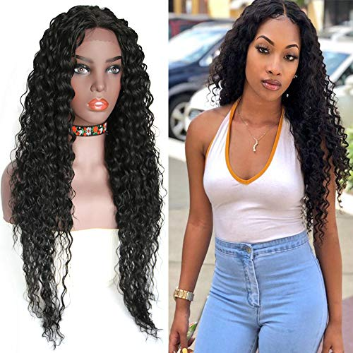 Middle Lace Front Part Long Loose Curly Natural Wigs Heat Resistant Replacement wig Half Hand Tied Full Wig Synthetic Lace Front Wigs for Women (1B(black))