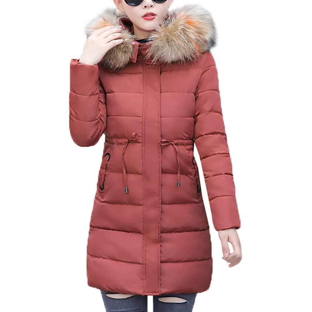 Wine Medium GridNN Women Faux Fur Hooded Collar Long Jackets Warmfor Wet Weather Thicken Coat