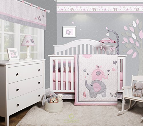 GEENNY OptimaBaby Pink Grey Elephant 6 Piece Baby Girl Nursery Crib Bedding ()