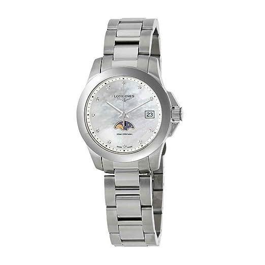 Longines Conquest - Reloj de pulsera para mujer con esfera de nácar y diamantes blancos L3.381.4.87.6: Amazon.es: Relojes