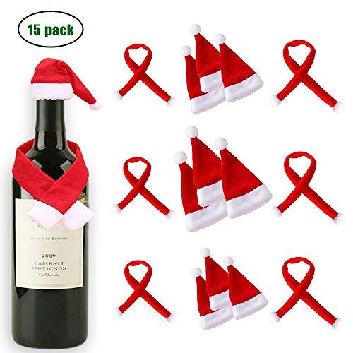 Hat Wine Bottle - ATROPOS 9 Pack Mini Felt Santa Hats,6pcs Christmas Pet Scarf for Wine Bottle Gift Decorations
