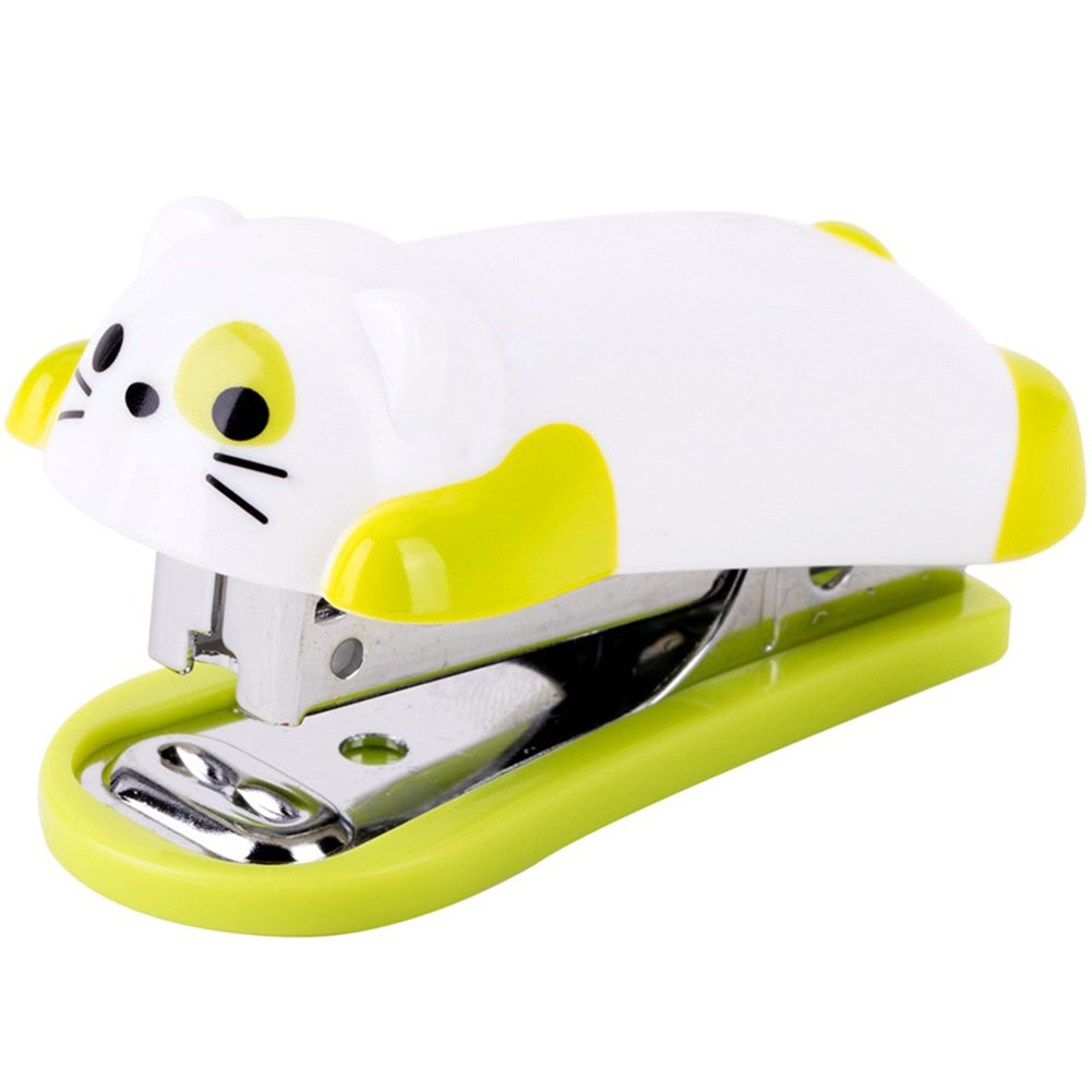 SuBoZhuLiuJ Mini Desktop Stapler with Cartoon Dog for Home Office Stationery with Staples Child Students Gift - Random Color
