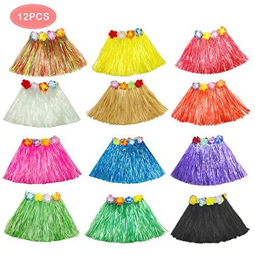 TiiMi Party 12PCS Hawaiian Luau Hula Skirts grass Skirts for girls Luau Party Supplies Hula Dancer Skirt Lei Hawaiian -