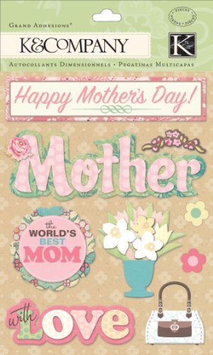 K&Company Grand Adhesions Stickers, Spring Mother's (Happy Mothers Day Stickers)