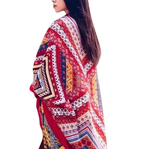 Veenajo Womens Printed Scarves Scarf Shawl Wrap Pashmina Boho Beach Scarf (Red)