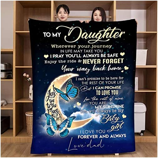Flannel Blanket to My Daughter from Mom Dad Blanket I Love You Personalized Custom Gifts Ultra-Soft Micro Light Weight… |