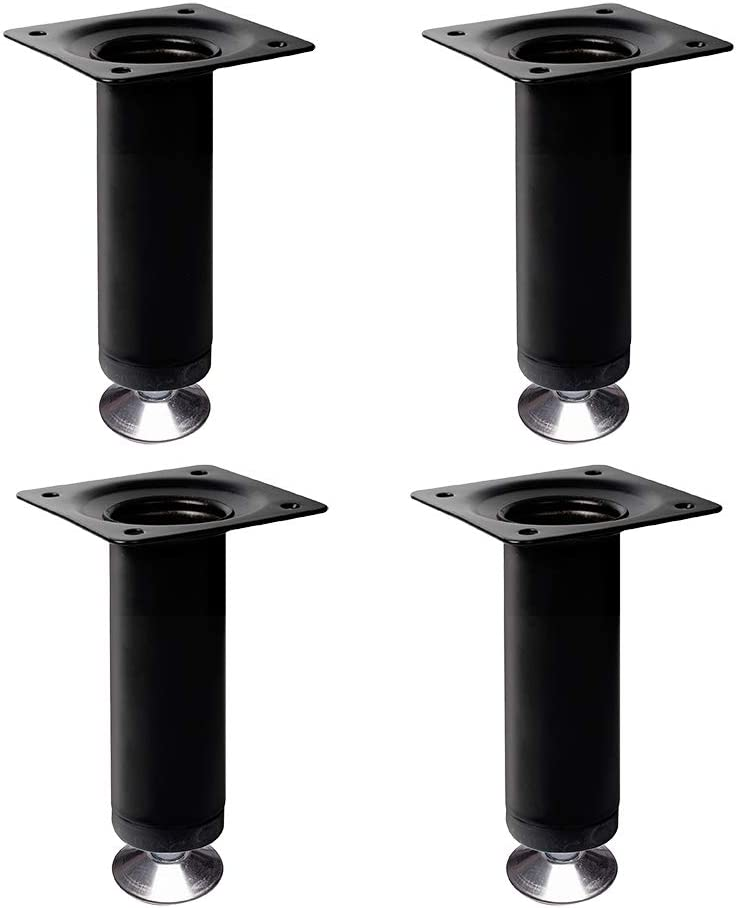 4 un Pata pie redonda para Mueble en acero diametro 30mm altura 100mm pintura blanca con regulador Nivelador de 15-25mm
