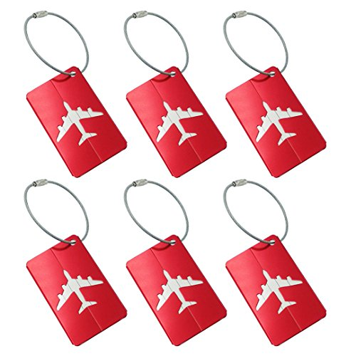 Metal Luggage Tags Baggage Suitcases Travel Labels Plane Shape Red, 6 Pack By V-story