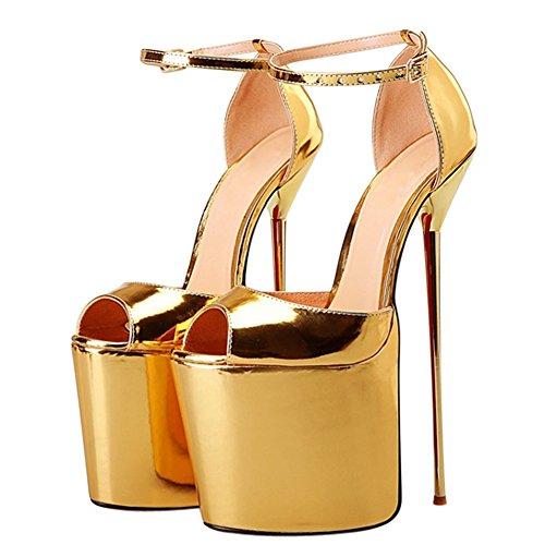 OCHENTA Femme Sandale Chaussures Talon Aiguille Haut Metal Tete de Poisson Platforme Epais Pointure Grande Sexy Or