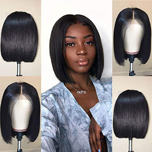 Jaja Hair Short Bob Wigs Brazilian Virgin Hair Straight Bob Wigs Lace Front Human Hair Wigs For Black Women Remy Hair Wigs 8 Inches]()