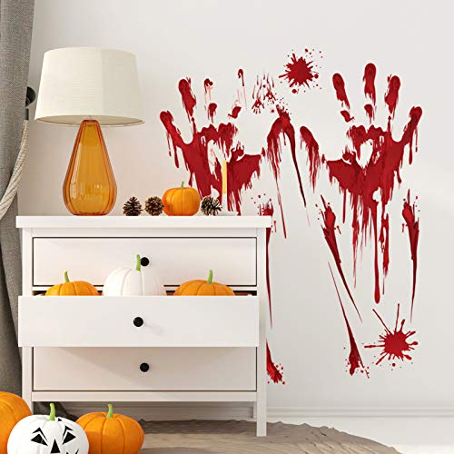 YuBoBo 60 PCS Halloween Decoration Removable Horror Bloody Handprints Footprints Decals Stickers, Halloween Vampire Zombie Party Décor Supplies by YuBoBo (Image #5)