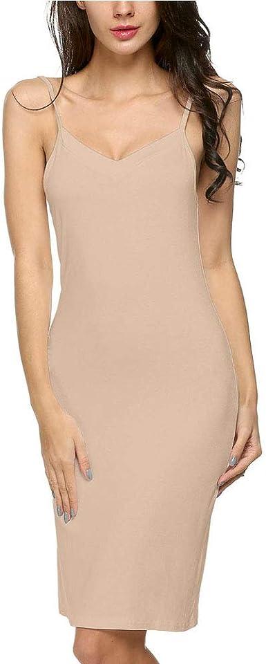 LONSUN - Fondo de Vestido de Mujer de algodón clásico bajo Vestido en V Cuello y Tirantes para Camisas de Noche, Falda, Vestido Largo: Amazon.es: Ropa y accesorios