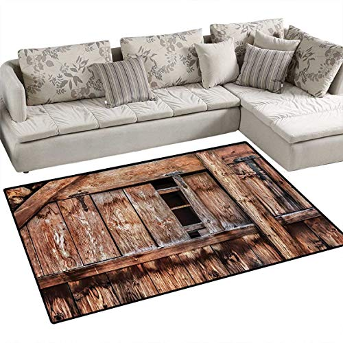 (Rustic,Floor Mat,Abandoned Damaged Oak Barn Door with Iron Hinges and Lateral Cracks Knock Theme,Rugs for Bedroom,Light Rosewood,55