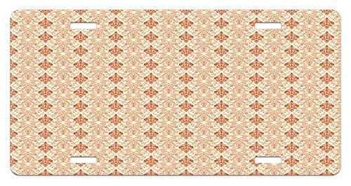 (Iliogine Antique Botanical Nature Pattern with Vintage Byzantine Floral Design Elements Beige Tan and Rust Funny Metal License Plate Frame Aluminum Frame Tag Holder)