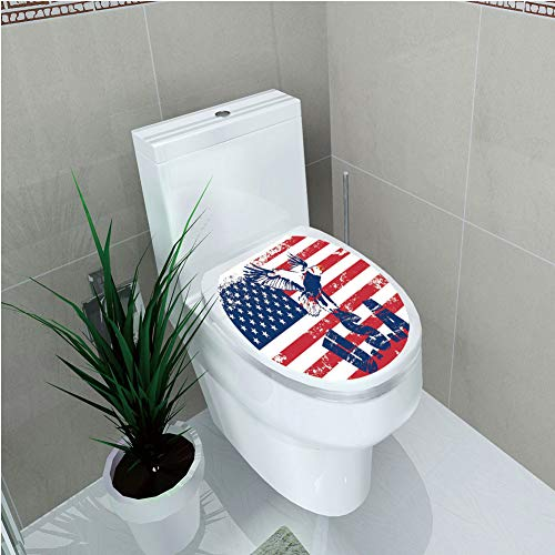 - Toilet Applique,United States,Grunge Looking American National Flag with Eagle and USA Artistic Print,Navy White Red,Custom Sticker,W12.6