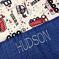 Personalized Baby Blanket, Firefighter Minky Baby Blanket,Newborn Girl or Newborn Boy, firefighter police man EMT baby blanket, baby shower gift, Double Minky Plush baby blanket